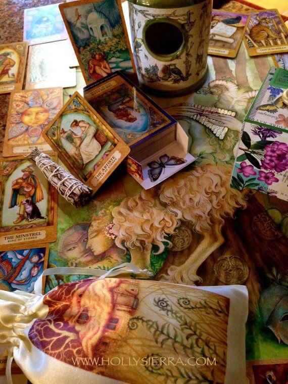 Chrysalis Tarot Deck Satin Drawstring Pouch and by HollySierraArt