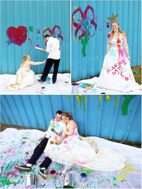 Stunning Trash The Dress give your wedding dress a vibrant painted makeover