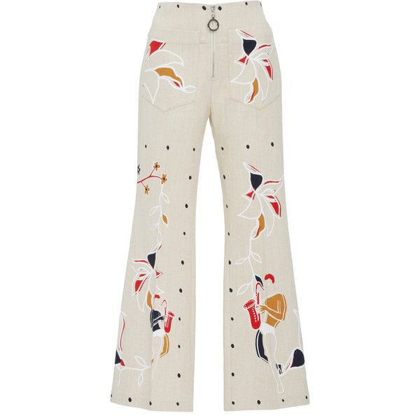 Edun      Harlem Dance Linen Flare Pant (€440) ❤ liked on Polyvore featuring pants, capris, white, white linen trousers, linen pants, flare pants, cropped flared trousers and cropped pants