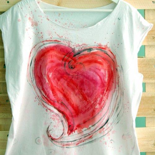 duża sprawa sercowa T-shirt ręcznie malowany w KuferArt.pl