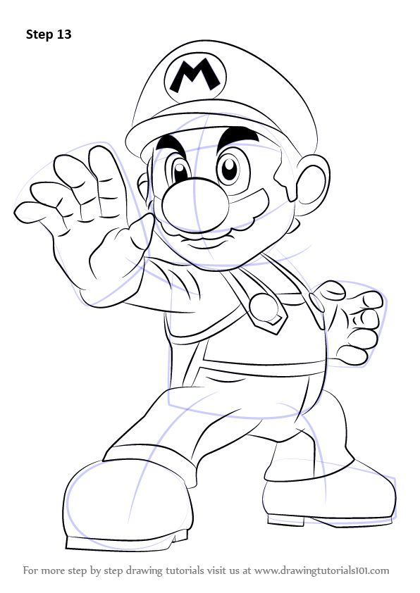 Learn How to Draw Mario from Super Smash Bros (Super Smash Bros.) Step by Step : Drawing Tutorials