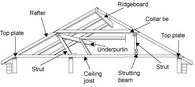 diagram of a roof frame showing the top plate  rafter