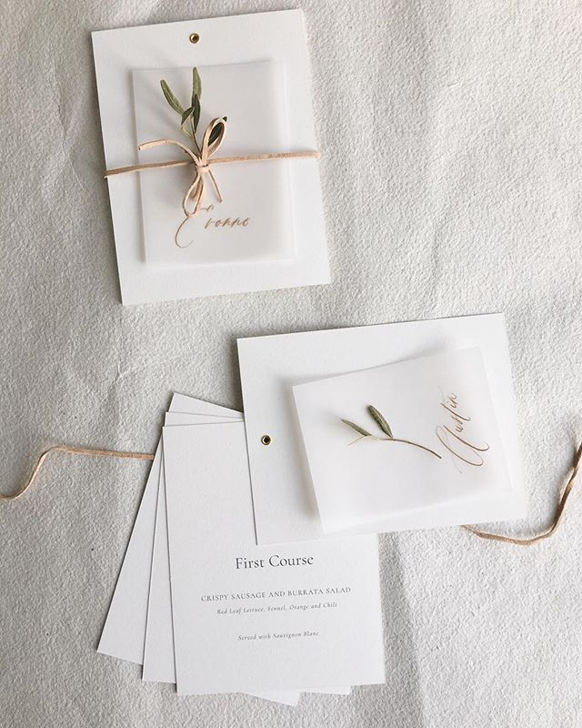 3d12e0b2f003 WEBSTA  paulaleecalligraphy Simple and sweet menu booklets tied with  leather string gold-inked vellum place cards. One of my favourite parts of  my job is ...