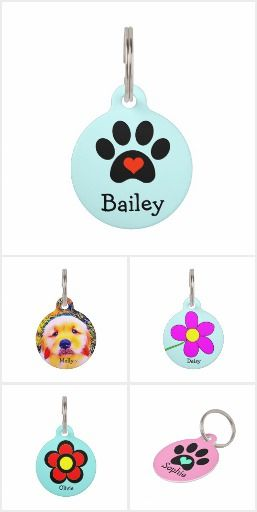 Custom Pet Tags Dress your pet in style with these cute tags! Each one can be personalized with your pet's name and your information. #pettags #dogtags
