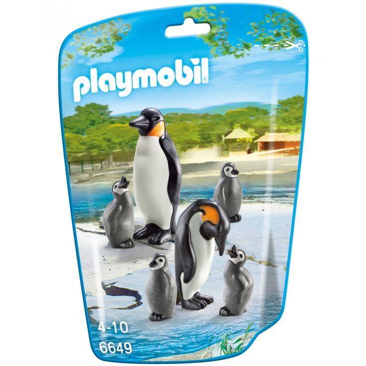Playmobil Familia de Pingüinos; set de juego con Pingüinos; incluye mamá papá y cuatro Pingüinos bebés.