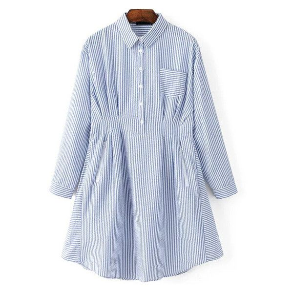 Blue Vertical Striped Shirt Dress With Pocket (45 BAM) ❤ liked on Polyvore featuring dresses, vertical stripe dress, shirt dress, long shirt dress, blue shirt dress and blue dress