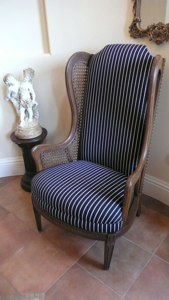 black and white pinstripe cane side wing chair with by metrosofa 1399 00