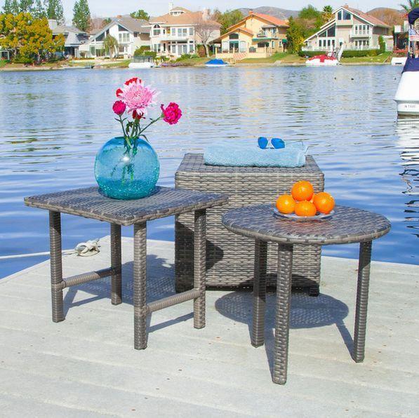 Patio Table Ottoman Set Rattan Furniture Porch Grey Indoor Wicker Outdoor Garden