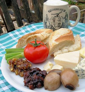 A Gloucestershire Ploughman's Lunch - Nothing nicer than ploughman's lunch in a pub garden, crusty bread, cheeses and pickles
