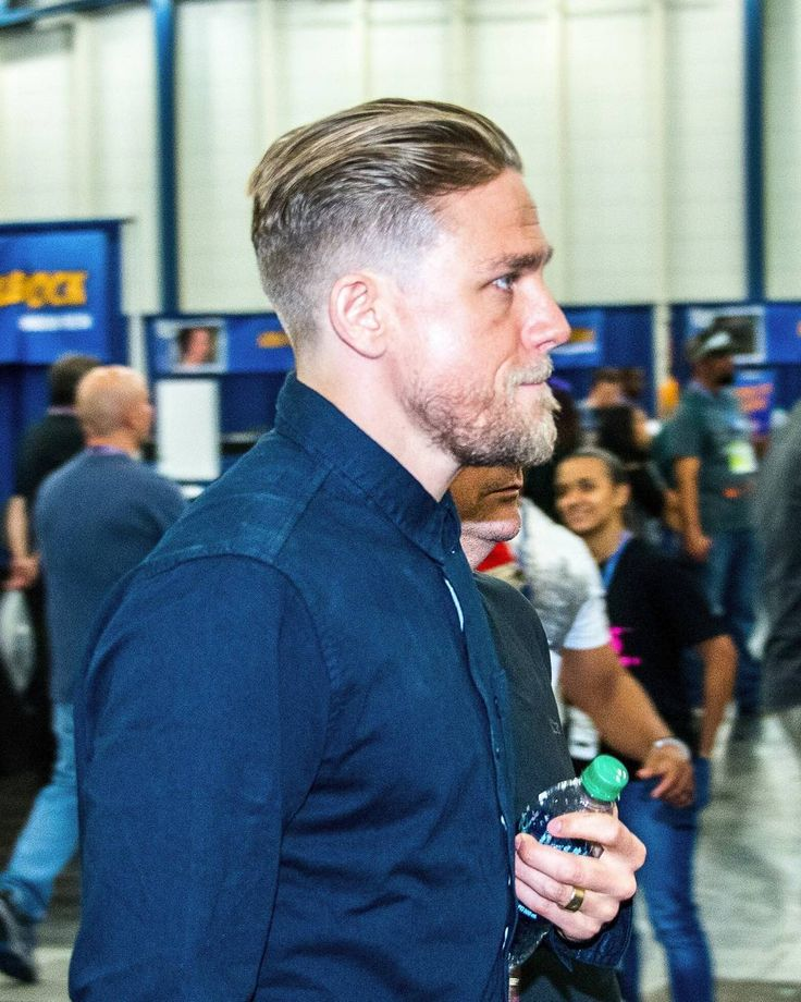 The hair, the lip bite, the side profile, the beard... This man is EVERYTHING! ❤ : Carl Schier #CharlieHunnam #SexiestManAlive #Comicpalooza
