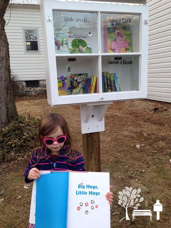 "An old window makes a great front door for a Little Library! Peggy Lineweaver in Dayton, VA said, ""My Library was made from a recycled window by my daughter and son-in-law as a gift for Christmas 2014!"""