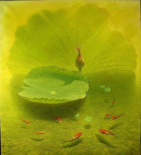 https://flic.kr/p/7WjErz | Waterlilies by Jiang Debin Chinese Artist | www.artistsandart.org