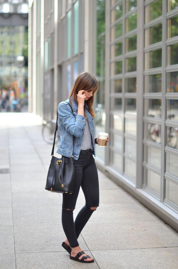 Ripped black jeans, Denim jacket  Perfect essentials! Get your Birkenstock Arizona Sandals at Masdings.com