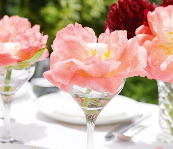 Peonies and tea lights
