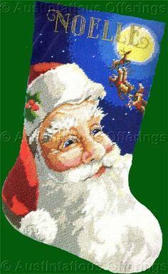 Rare Rossi Santa Claus and Reindeer Needlepoint Stocking Kit Vintage Rare Needlework Kits - Contemporary Stitchery Crafts