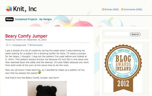 Knit, Inc  Shortlisted in Best Craft Blog category. Blog Awards Ireland 2012   http://www.knitinc.net/