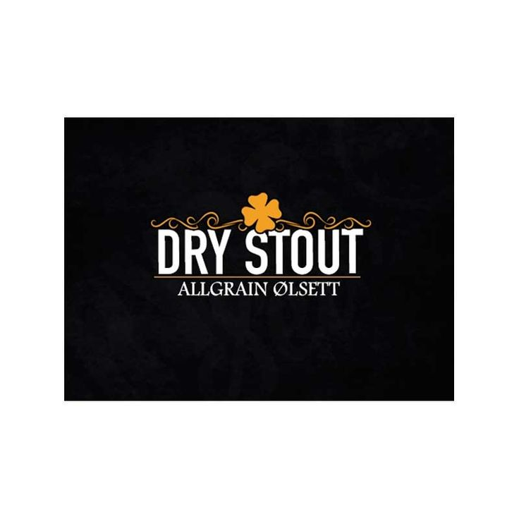 Dry Stout. Allgrain ølsett gir en Mørk og fyldig Dry Stout. Den er inspirert av de irske klassikerne. Gir en øl med preg av kaffe, ristet brød og sjokolade.
