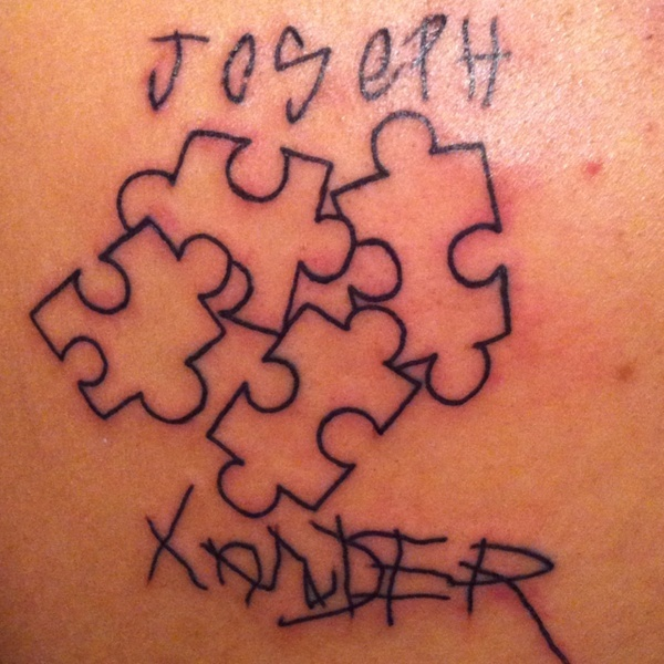 Autism tattoo... Both names are in the boys own handwriting. csauten