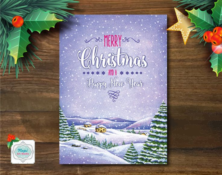 Printable Christmas Greeting Card, Merry Christmas Card, Watercolor Christmas Landscape Holiday Card, Holiday Decor Art, Happy New Year Card by NopiArtStudio on Etsy