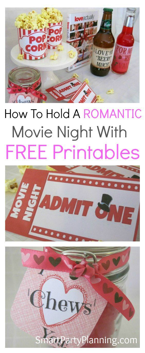 "Need a bit of romance at your next in home movie night? These DIY ideas will ensure you have a fun filled evening snuggled up on the couch with your loved one. Isn't that the perfect way to say ""I love you""? Make the night even more fun with free printable's. #Freeprintables #Valentinesdayideas #Movienight"