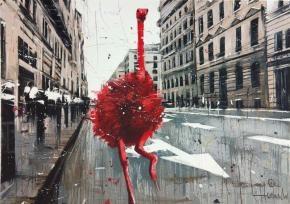 Autore: Angelo Accardi  Titolo: Misplaced Red ostrich  Tecnica: Serigrafia  Misura:  50 x 70 cm  Tiratura:  99  Prezzo: 260,00 €