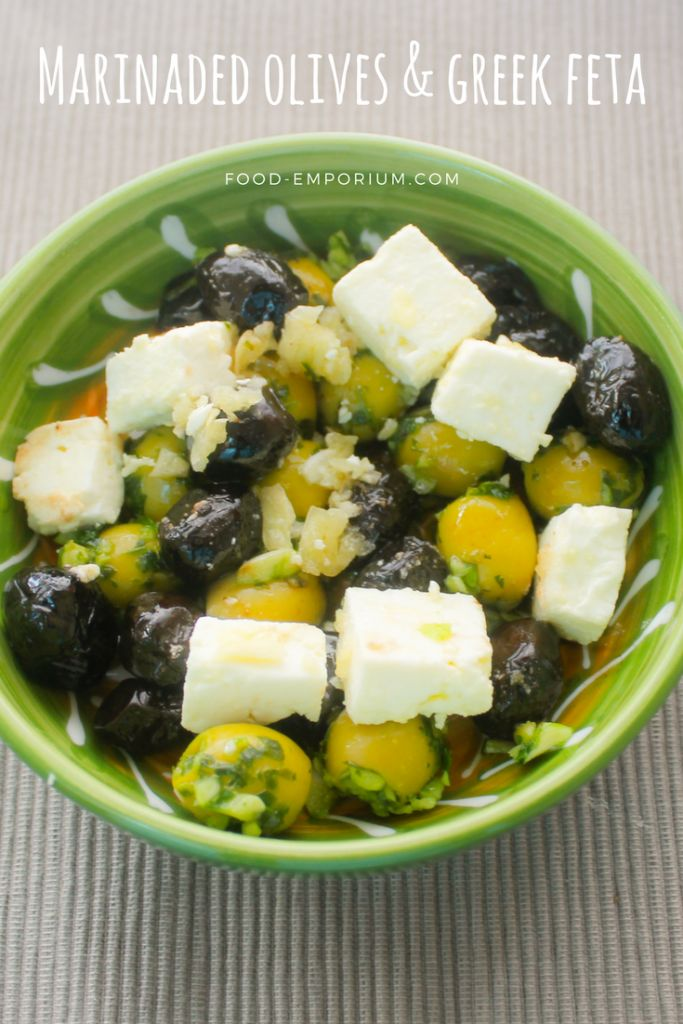 Marinaded olives with Greek feta cheese. This Tapas recipe is online on our website.. Find our recipe here: http://www.food-emporium.com/recipe-view/marinaded-olives-greek-feta/  #Olives #Feta #cheese #oliveoil #tapas #Lastapas #Recipe #mediterraneanfood