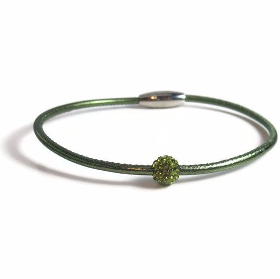 Green Leather Anklet with Green Rhinestone