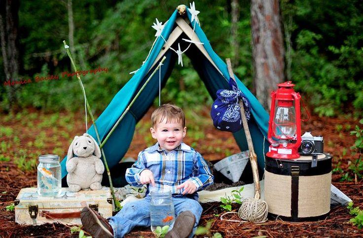 2 year old month boy outside backyard tent photography photo shoot session idea Fish newspaper hat fishing pole mason jar burlap craft