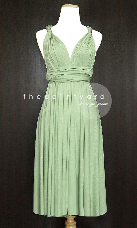 Short Straight Hem Sage green Infinity Dress by thedaintyard