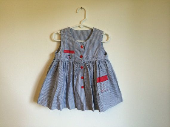 1980s toddler girls NAUTICAL pinstriped by VinTaGeOus102607
