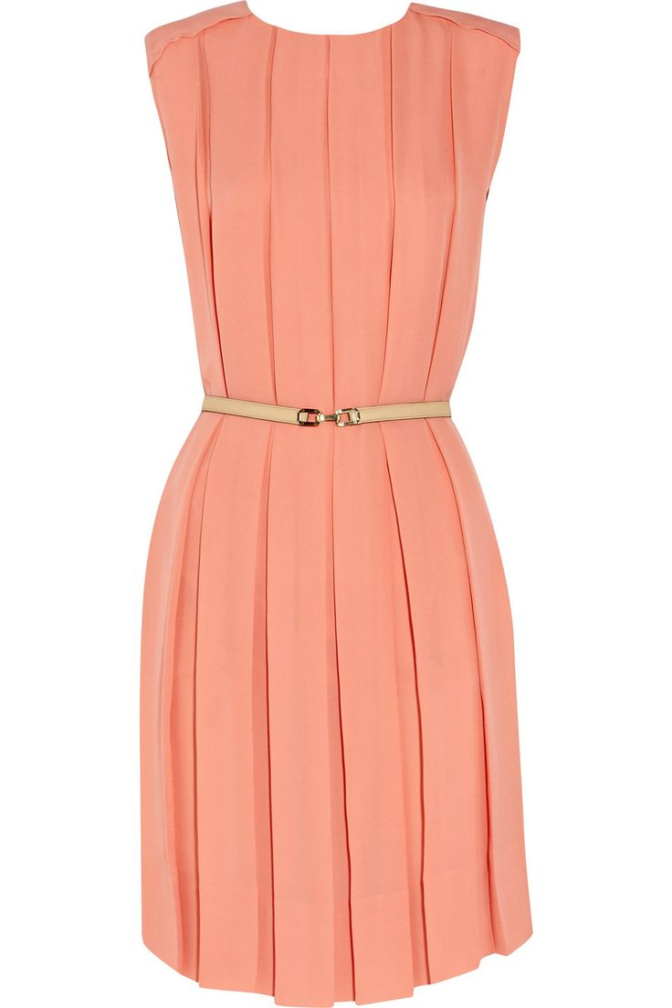 Chloe Pleated silk-crepe dress in peach