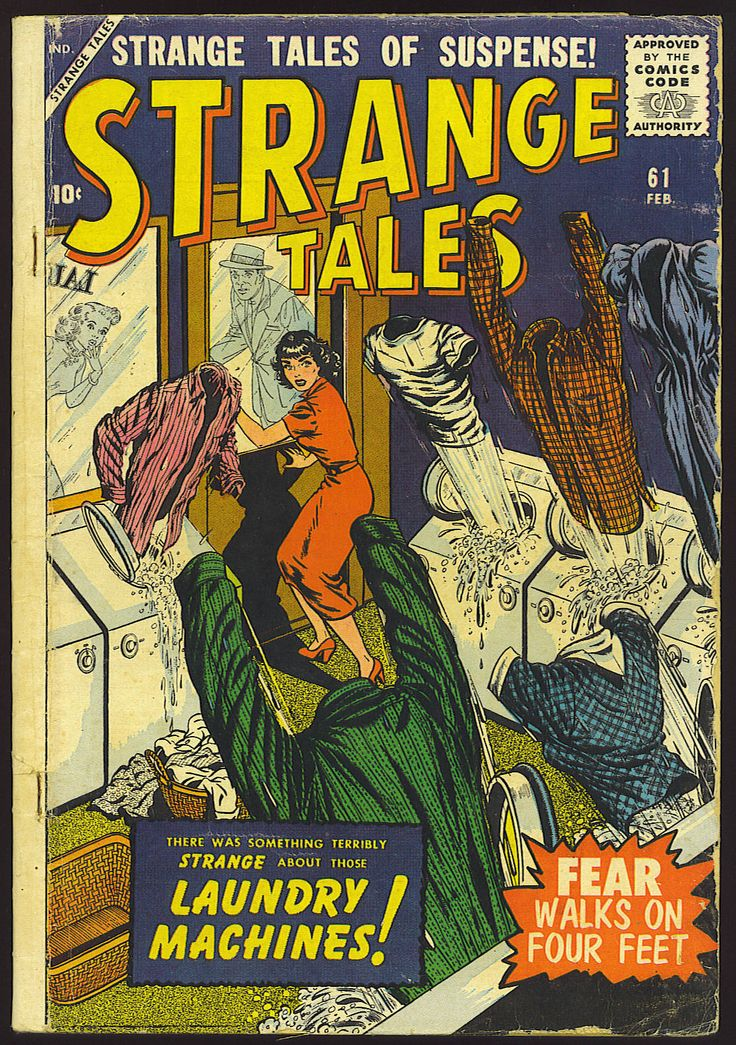 """There was something terribly strange about those LAUNDRY MACHINES!"" - Strange Tales #61 (February 1958) - Cover by Bill Everett and Stan Goldberg"