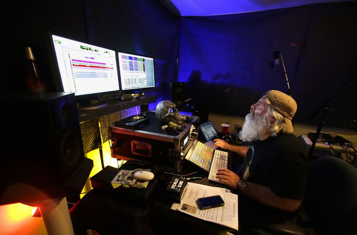 Steve Hamilton works his magic on a newly recorded song during Dark Songs 2014. (photo by Gary Porter)