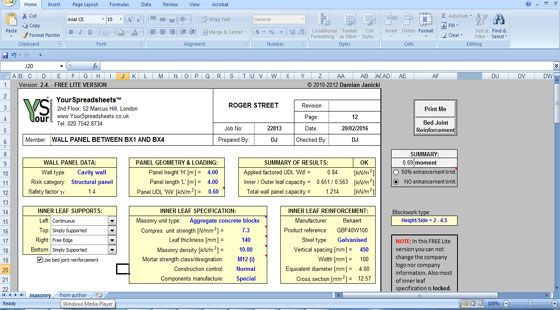Masonry Wall Panel Design Spreadsheet Is Specifically Designed To Create The Design Of