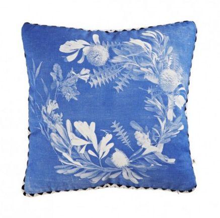 Banksia Wreath Blue Cushion - colourdecor.com.au