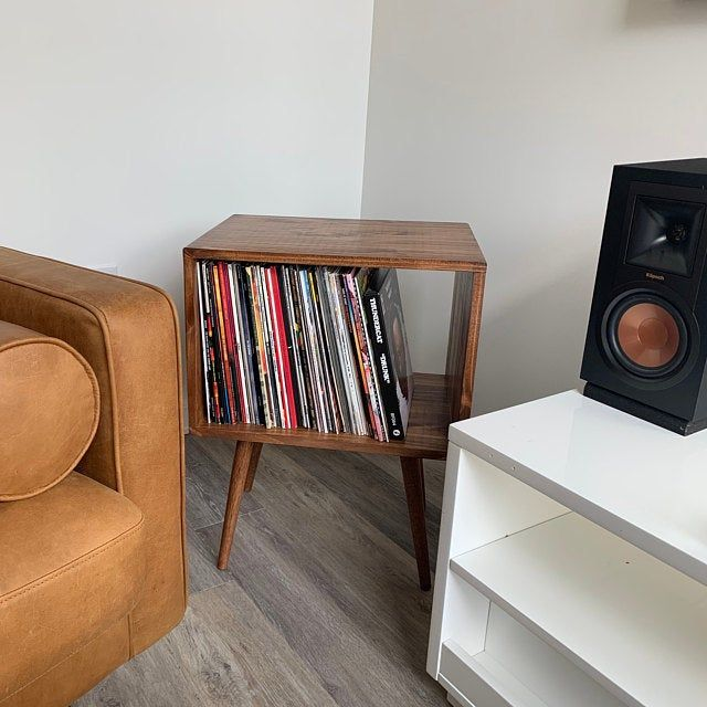 Mid Century Modern Vinyl Console Vinyl Record Storage Etsy Modern Record Console Rustic Side Table Record Storage