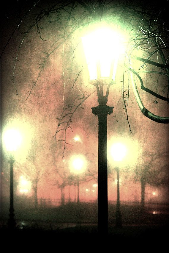 Dark night photography street night lamp dark foggy by MagicSky, Kč129.00