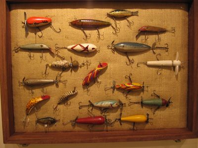 ways to display antique fishing tackle/lures...camping theme bedroom
