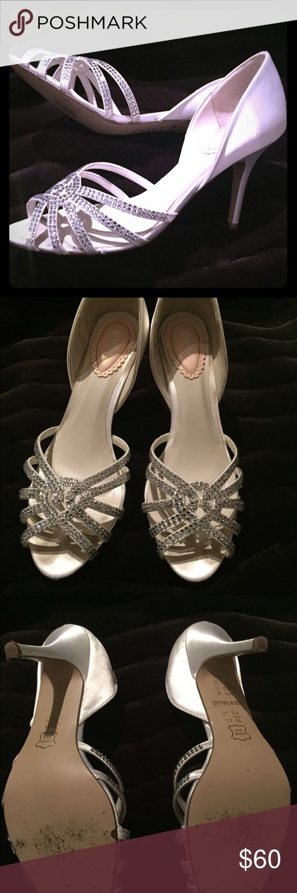 """Pink Paradox London Ivory satin heels Ivory satin and rhinestone detail peep toe heels.  Size 8.5.  Worn once in great condition.  Heel height 3 1/4"""" Paradox London Pink Shoes Heels"""