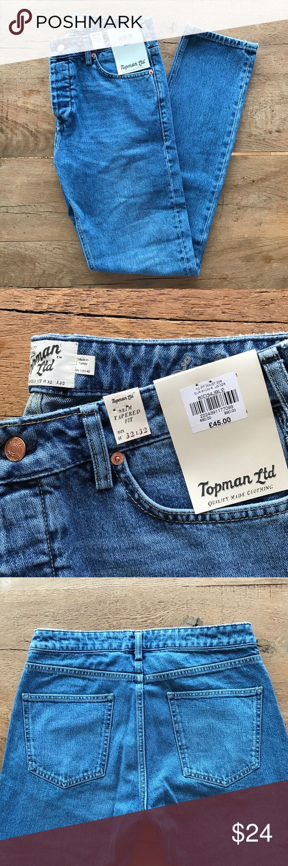 """Topman Slim Fit Denim NWT NWT. Topman """"slim tapered fit"""" jeans. 32"""" inseam, 12"""" ankle opening, 10.5"""" rise. 4-button fly. 100% cotton. Price tag is in £ because these were purchased in the U.K. Topman Jeans Slim"""