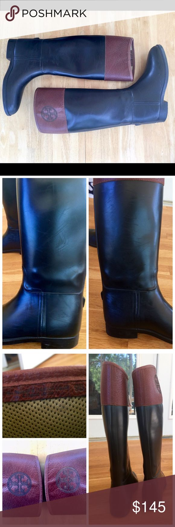 """♨️JUST IN♨️ Aigle Winnie Rubber Ridding/Rain Boots These are pre loved, has scuffing marks and wear but are in good condition. Rubber with contrast leather top shaft. Round toe. Double """"T"""" at the top shaft. 1"""" block heel; 1/2 platform. Pull-on style. Approx. 17"""" overall boot height; 16"""" circumference. Tory Burch Shoes Winter & Rain Boots"""