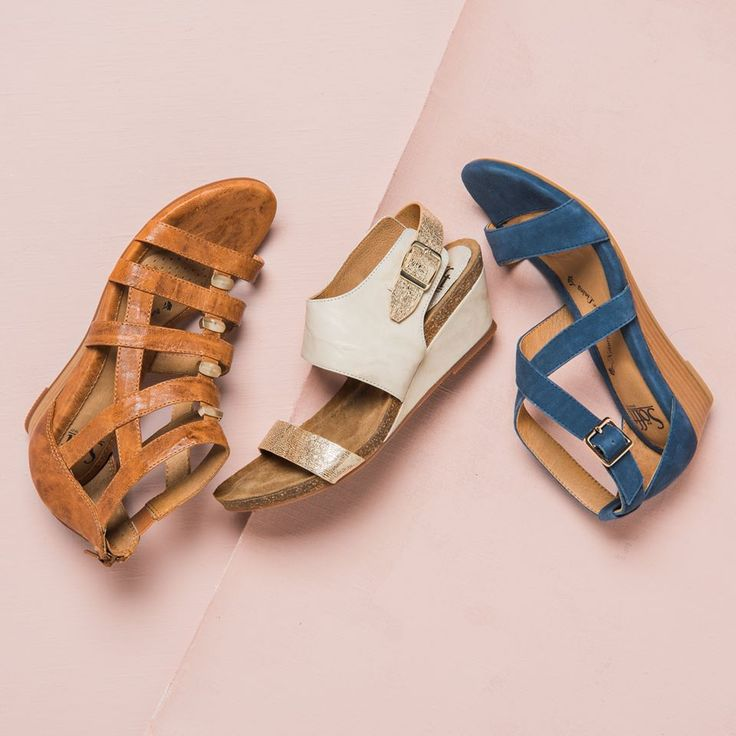 When you can't decide which pair to get, just get them all! The RIO, INNIS, and VANITA will keep your feet cool, cute and comfortable this summer! RIO is shown in Luggage; INNIS is shown in Denim; VANITA is shown in Light Grey Plantino.
