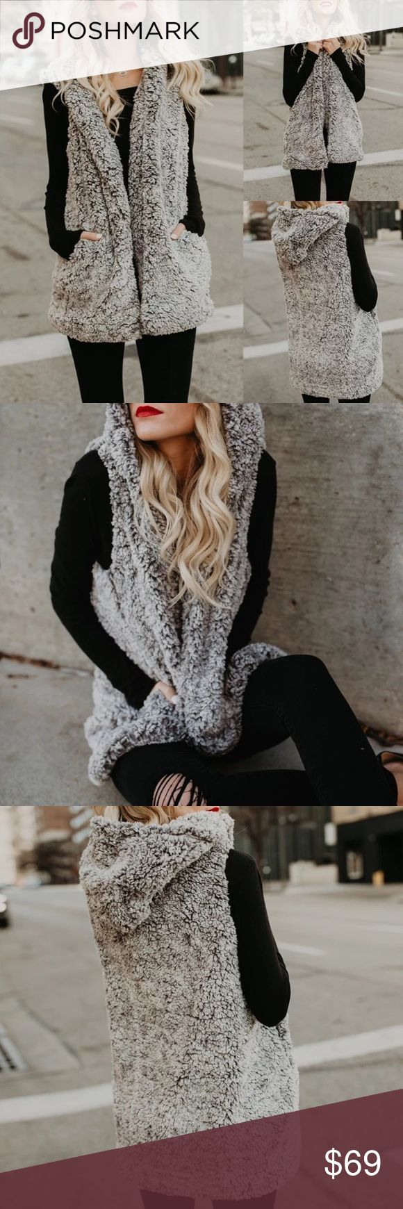 The l Chenille l Vest✨ Just In The Chenille Vest Faux Sherpa Soft Fur hooded gorgeous abstract gray Jackets & Coats Vests
