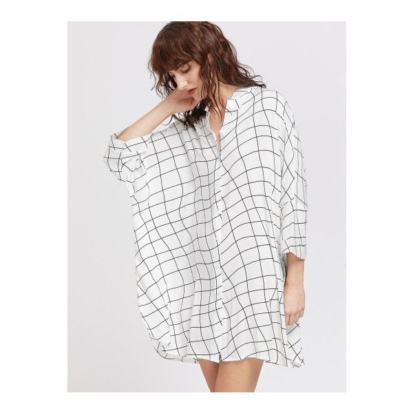 SheIn(sheinside) Irregular Plaid Batwing Shirt Dress (1,230 INR) via Polyvore featuring dresses, black and white, t-shirt dresses, long sleeve shirt dress, black and white dress, long-sleeve shift dresses and short shirt dress
