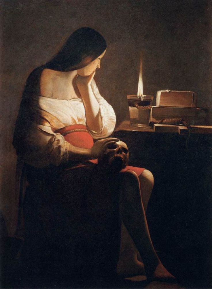 Saint Mary Magdalen with the Smoking Flame (1640). Georges de La Tour (French, Baroque, 1593-1652). Oil on canvas. Louvre.   The repentant Magdalen, Melancholy, and Vanity. The artist gave it philosophical meditation in keeping with the spirit of the time; the saint's body is enveloped in mysterious darkness, and her pensive face illumined only by the candle.