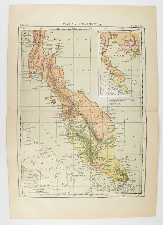 1894 Antique Map Malay Peninsula, Vintage Malaysia Map, Singapore Southern Thailand Map, World Traveler Gift for Couple, Vacation Gift available from OldMapsandPrints.Etsy.com #MalayPeninsulaMap #MalaysiaMap #AntiqueMapofMalaysia #Singapore