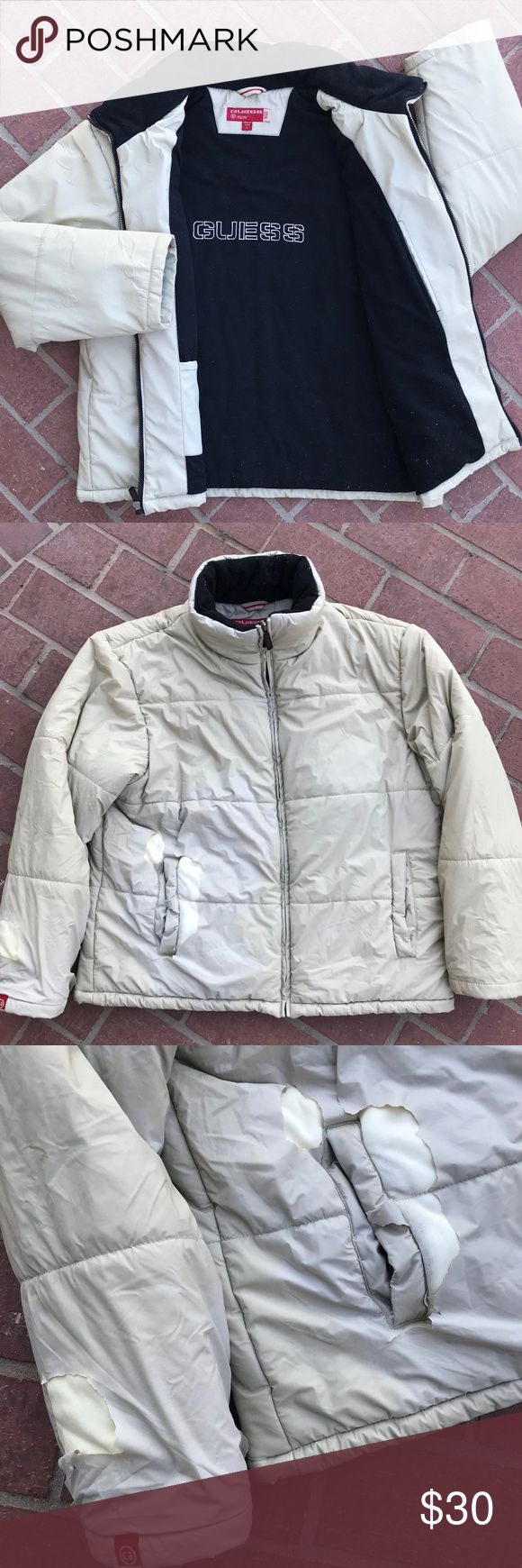 VINTAGE GUESS USA CREAM PUFFER JACKET MEN'S SIZE L Details: Has severe defects, see photos please. Cream puffer jacket. Black fleece inside. Has a few small defects (see photos) but overall clean & in good wearable condition. Full zip. Guess logo on zipper. 2 front pockets. Guess label on right sleeve & bottom left of jacket. Guess logo embroidered inside of jacket black fleece inside. 2 inside pockets.  Measurements: Pit-to-pit:26 inches. Sleeves: 25 inches. Back Length: 32 inches.  *Ships…