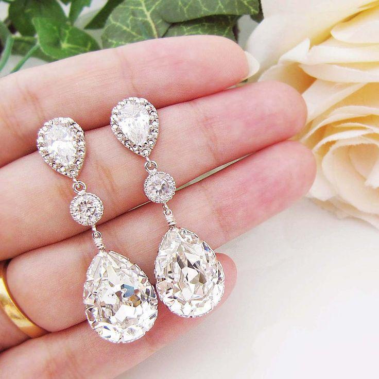 Swarovski and cubic zirconia bridal earrings