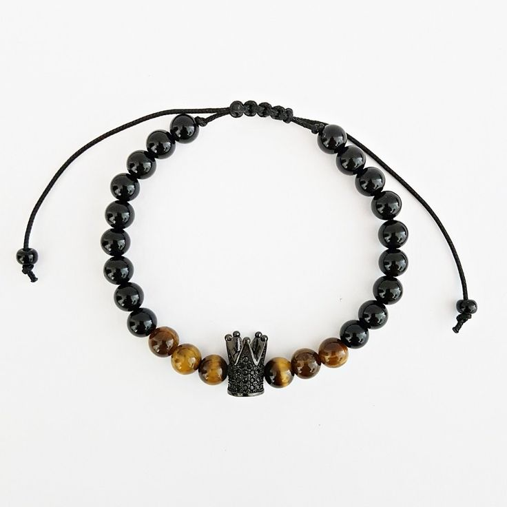 Pulseira Masculina Pedra Natural Olho Tigre Onix Coroa Rei mens bracelets fashion style cocar brasil