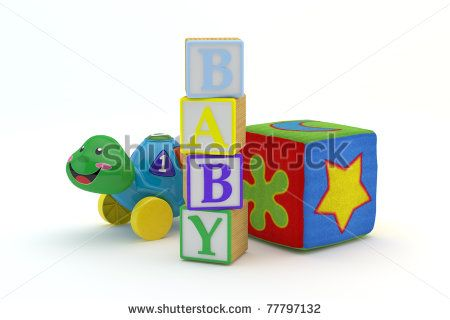 Wood toy blocks spelling baby with baby toys in background isolated on a white background 3d Model, 300 D.P.I - stock photo